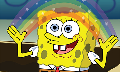 Spongebob making a rainbow
